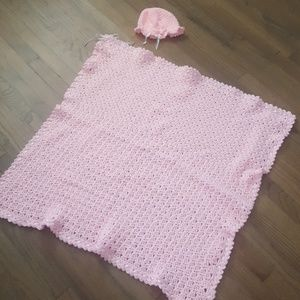 Other - Adorable Pink Baby Blanket with Matching Hat